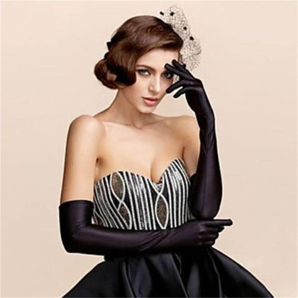 Female Gloves 2020 Sexy Fashion Lady Soft Stretchy Long Sleeve Finger Gloves Burlesque Party Opera Gloves Sun Protection Gloves - Go Buy Dubai