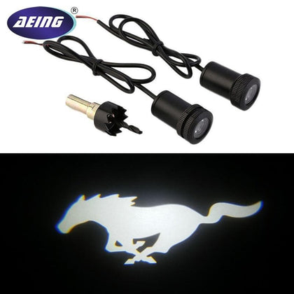AEING 2pcs White Mustang Pony LED Courtesy Lamps Ghost Shadow Lights Door Projectors For Ford Mustang - Go Buy Dubai