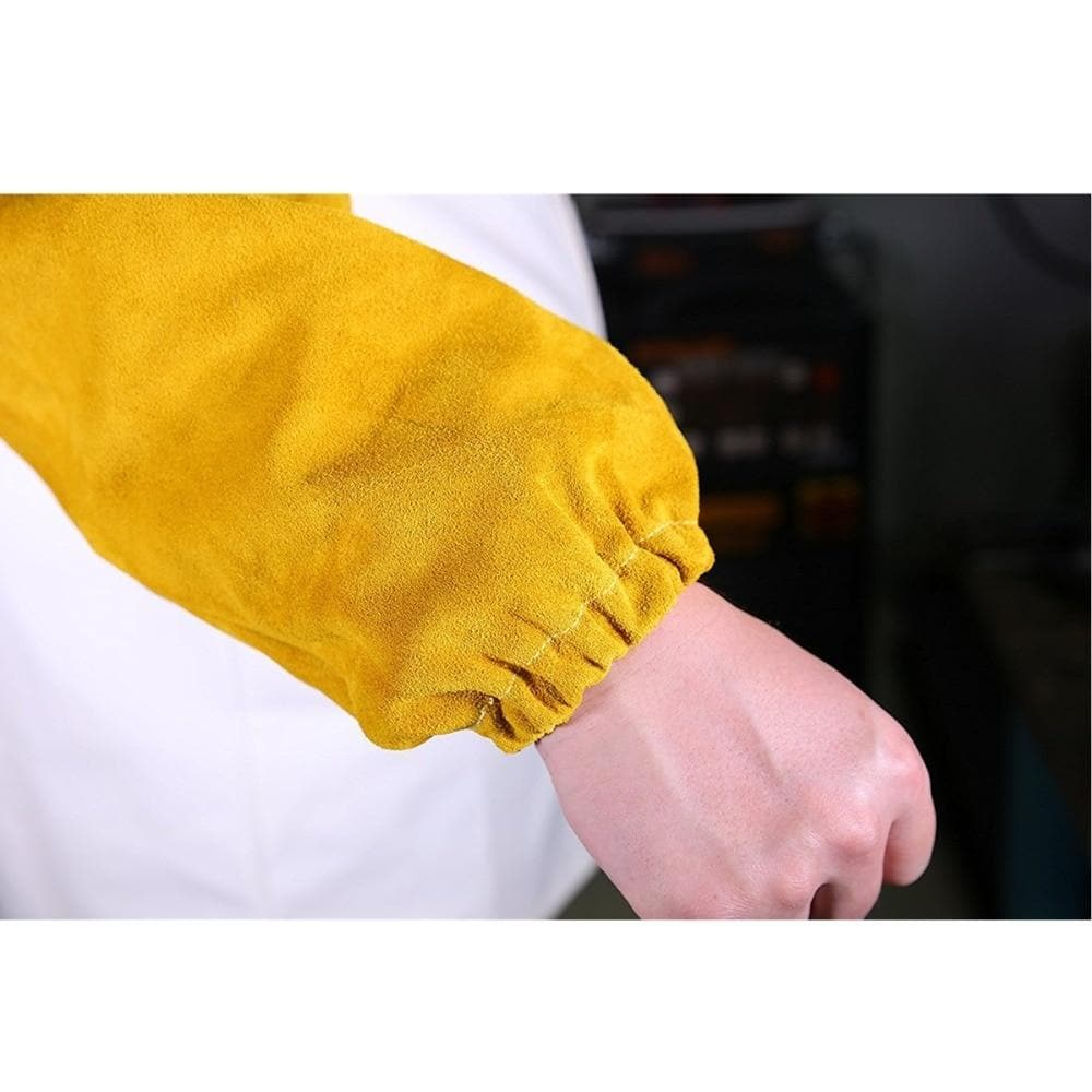 "Professional Welder Arm Protection Sleeves Split Cowhide Leather Sleeves 48cm 19"" Long CE Approved Welding Sleeves"