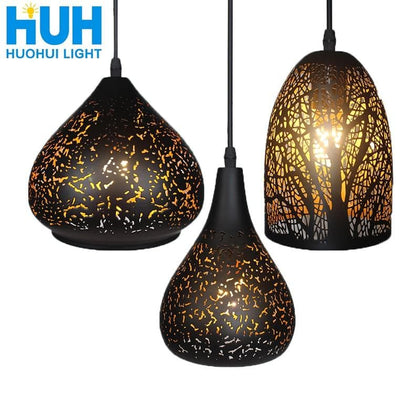 Vintage Pendant Light Nordic Porous Loft E27 LED Iron Etching Lampshade Bar Restaurant Lamp Creativity Style Rust Pendant Lamp - Go Buy Dubai