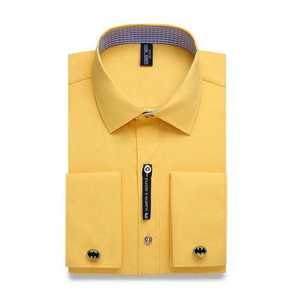 Alimens & Gentle Mens French Cuff Dress Shirt Men Long Sleeve Solid Color Striped Style Cufflink Include 2019 Fashion New - Go Buy Dubai