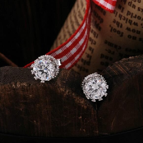 Fashion jewelry Crown crystal 925 Sterling Silver Stud Earrings