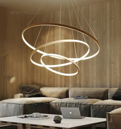 Black/White/Golden Modern pendant lights for living room dining room 4/3/2/1 Circle Rings acrylic aluminum body LED pendant Lamp - Go Buy Dubai