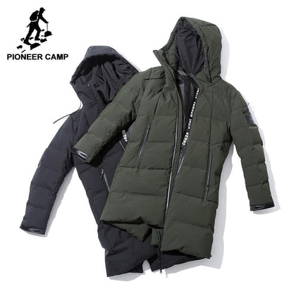 Pioneer Camp men down jacket brand-clothing winter thicken warm duck down coat hooded male army green black AYR705308 - Go Buy Dubai