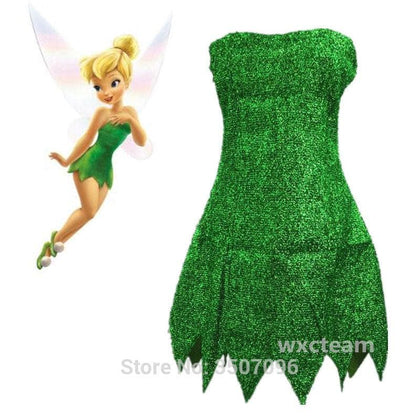 Pixie Fairy Cosplay Costume Tinker Bell Green Dress Tinkerbell Halloween Party Sexy Cosplay Mini Dresses With Wig Drop Ship - Go Buy Dubai