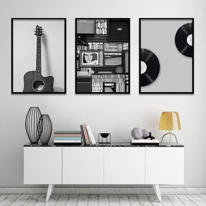 Vintage Music Prop Nordic Canvas Painting Home Decor Wall Art Retro Black White Guitar Office Living Room Picture Minimalist ART - Go Buy Dubai