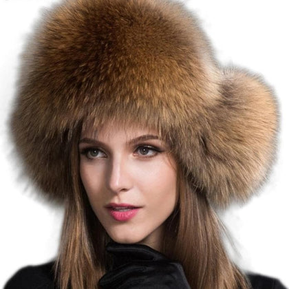 Russia Hot Item Fashion Winter Raccoon&bomber Fox Fur Hat With Ear Flaps For Women Thick and warm Winter Cap - Go Buy Dubai