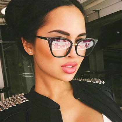 Cat Eye Glasses Ttransparent Female Clear Lens Fake Glasses Womens Retro Eyeglass Frames Acetate Optical Prescription Eyewear - Go Buy Dubai