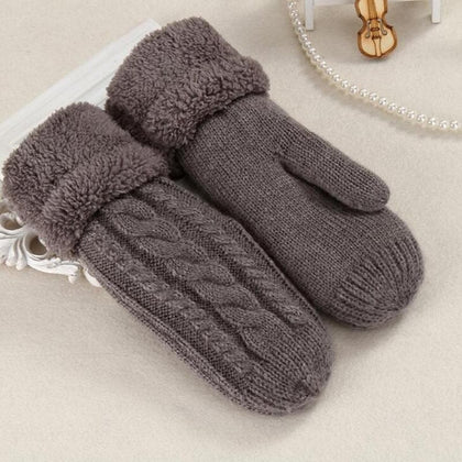 Women Fashion Knit Twist Flowers Mittens Winter Female Wool Plus Cashmere Velvet Thickening Warm Full Finger Gloves Guantes L46 - Go Buy Dubai