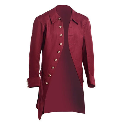 Men Medieval Trench Vintage Military Victorian Gothic Steampunk Coat Jacket - Go Buy Dubai
