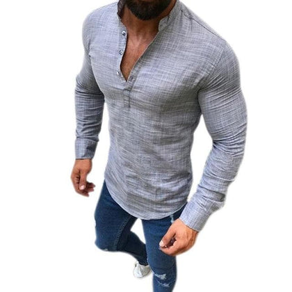 Mens Linen Long Sleeve Tops V-Neck Button Up Shirts Business Solid Color Blouse - Go Buy Dubai