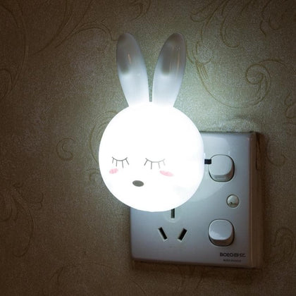 Cartoon Rabbit LED Night Light AC110-220V Switch Wall Night Lamp With US Plug Gifts For Kid/Baby/Children Bedroom Bedside Lamp - Go Buy Dubai