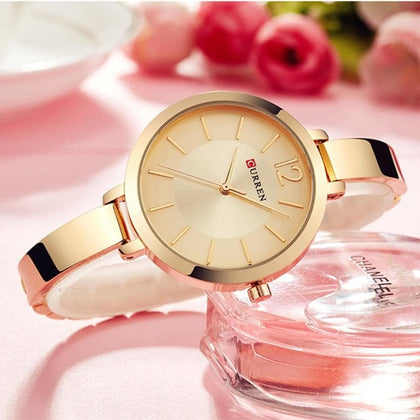 CURREN Fashion Gold Women Watches 9012 Stainless Steel Ultra thin Quartz Watch Woman Romantic Clock Women's Watches Montre Femme - Go Buy Dubai