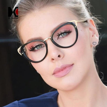 Fashion Mixed Colors Cat Eye Eyeglasses Frame Women Retro Myopia Glasses for Female - Go Buy Dubai