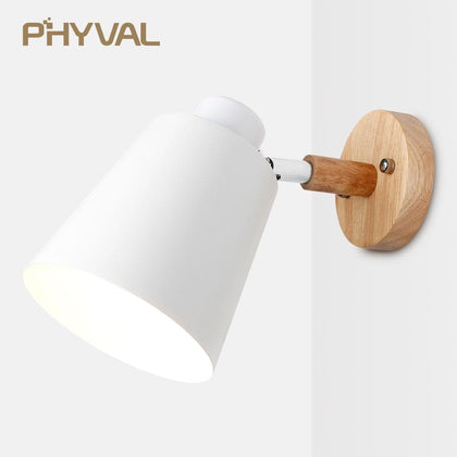 wooden wall lights bedside wall lamp wall sconce modern wall light for bedroom Nordic macaroon 6 color steering head E27 85-285V - Go Buy Dubai