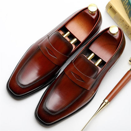 Genuine cow leather brogue Wedding Casual Shoes for men black red 2020 spring - Go Buy Dubai