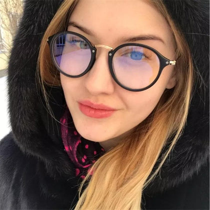 blue light glasses frame computer glasses spectacles round transparent female women's eyeglasses frame 2020 Optical frames clear - Go Buy Dubai
