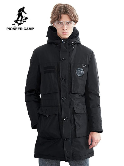 Pioneer Camp warm long down jacket men brand clothing winter super whiter down coat male top quality multi pockets AYR801434 - Go Buy Dubai