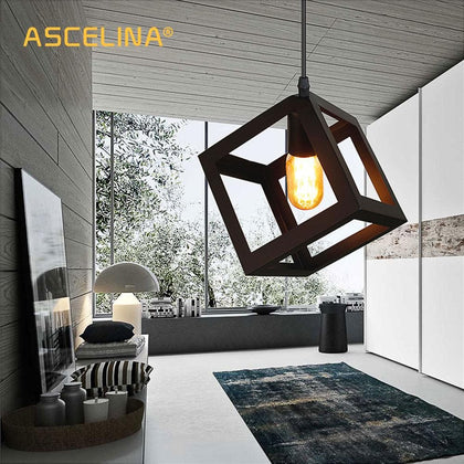 pendant lamp American village square pendant creative living room light loft of the Quartet iron lighting bedroom balcony E27 - Go Buy Dubai