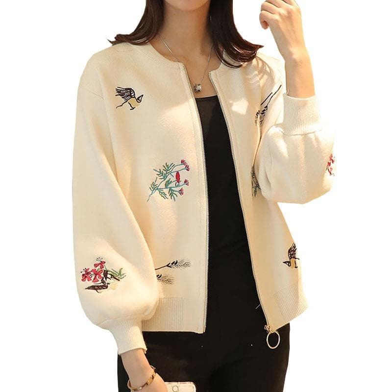 Women Basic Coats Knit Cardigan Sweater 2019 Autumn Embroidery Jumper Zippers Short Jacket Sweater Women Cardigan Feminino C3624