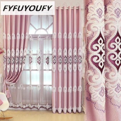 Simple Jacquard Fabric Love Embroidery Blackout Curtain European Tulle Curtains Bedroom Living Room Bay Window Home Decor M038-4 - Go Buy Dubai
