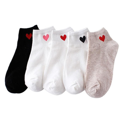 Women Short Socks Red Heart Cute  Socks Soft Cotton - Go Buy Dubai