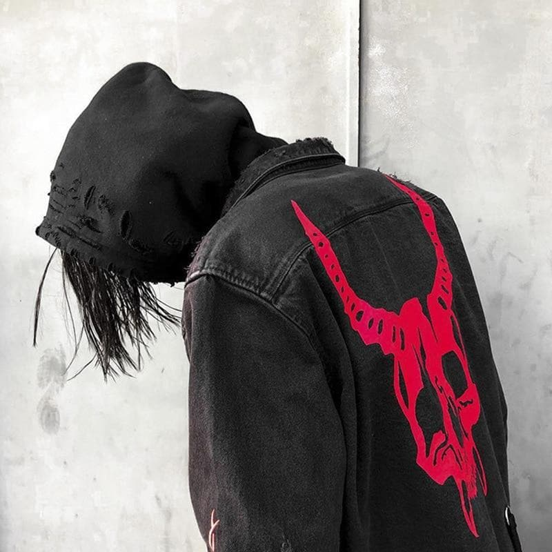 HOT Fashion Men's Vintage Autumn Spring Frayed Hip Hop Skull Street Wear Denim Jacket