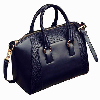 Women's Shoulder Bag in imitation leather Satchel Cross Body Tote Bag (Black) - Go Buy Dubai