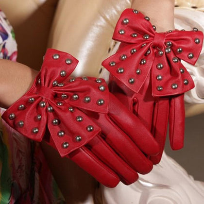 Hot Selling Winter Motorcycle Lady Rivet Butterfly Bow Soft PU Leather Gloves For Women Black Red High Quality Fashion Accessory - Go Buy Dubai
