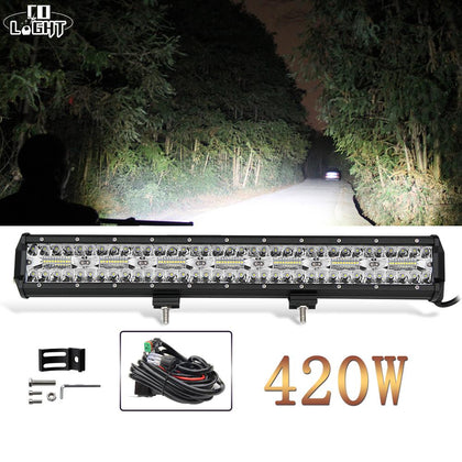CO LIGHT 420W 3-Rows Led Light Bar Car 20 inch Spot Flood Combo Beam Led Bar for Trucks ATV Tractor Jeep Auto Work Light 12V 24V - Go Buy Dubai