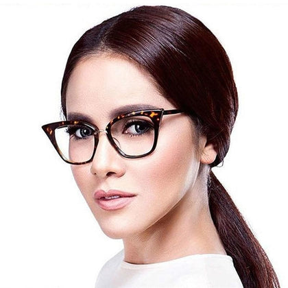 Woman Optical Eyeglasses Fashion Female Stylish Frame Spectacles for Women Prescription Eyewear Glasses Frame Cat-Eye Style - Go Buy Dubai