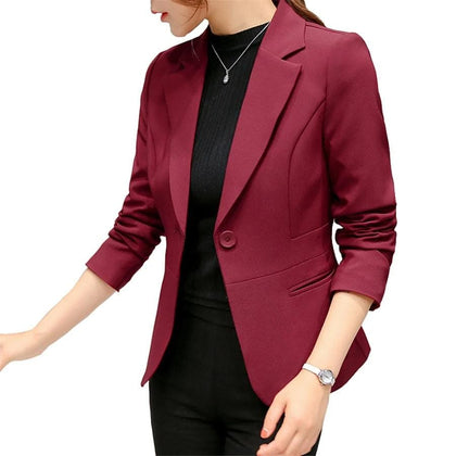 Long Sleeve Blazers Solid One Button Coat Slim Office Lady Jacket Female Tops Suit Blazer - Go Buy Dubai