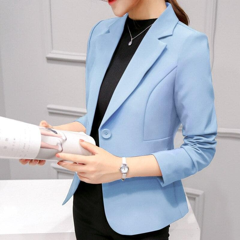 Long Sleeve Blazers Solid One Button Coat Slim Office Lady Jacket Female Tops Suit Blazer