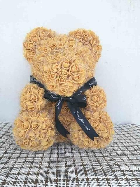 20/40cm Wedding Party Artificial Flower Rose Bear with LED/Box Girlfriend Anniversary Valentine's Day Gift Birthday Kids Present