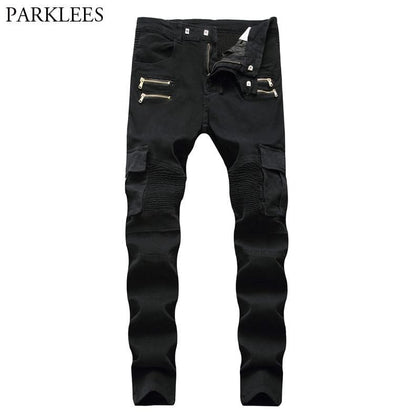 Black Biker Cargo Jeans Pants Men 2018 Brand New Folds Pocket Pencil Jeans Homme Zipper Casual Runway Distressed Motorcycle Jean - Go Buy Dubai