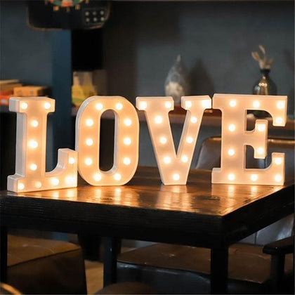 16CM LED Letter Night Light Light Alphabet Battery Home Culb Wall Decoration Party Wedding Birthday Decor Valentine's Day Gift - Go Buy Dubai