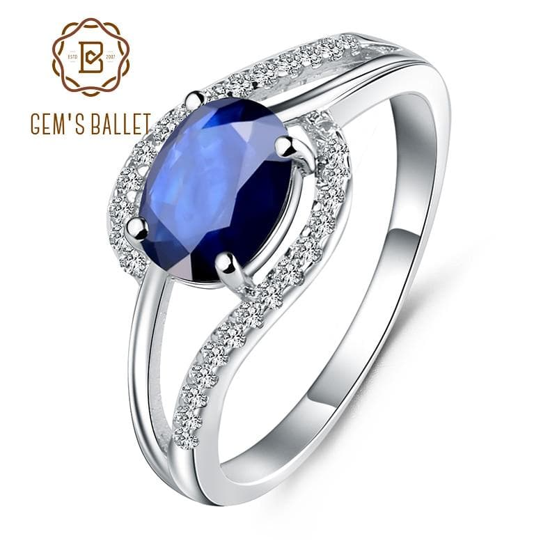 Natural  Blue Sapphire Gemstone Silver Ring Classic Wedding Rings for Women