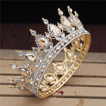 Crystal Vintage Royal Queen King Tiaras and Crowns Men/Women Pageant Prom Diadem Hair Ornaments Wedding Hair Jewelry Accessories - Go Buy Dubai