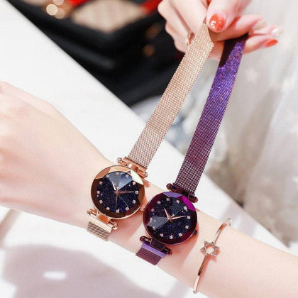 Romantic Starry Sky Ladies Quartz Watch Galaxy Dial Star Space Pattern Analog Women Wrist Watches Metal Strap Magnet Clasp gift - Go Buy Dubai