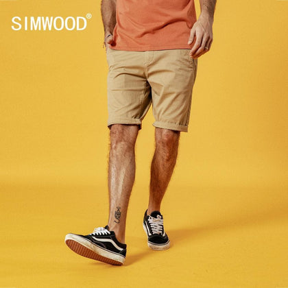 SIMWOOD 2019 Summer New Solid Shorts Men Cotton Slim Fit Knee Length Casual men clothes High Quality Plus Size 9 Color available - Go Buy Dubai