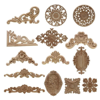 Decorative Floral Wooden Carved Crafts for Wall Door Furniture - Go Buy Dubai