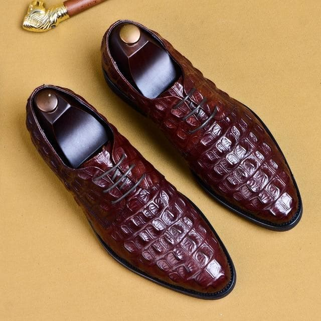 Men's New Arrival Authentic Crocodile Pattern Genuine Leather Pointed Toe Lace-up Formal Shoes