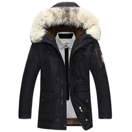 New brand winter jacket men 90% white duck down jacket thick keep warm men down jacket fur collar hooded down jackets coat male - Go Buy Dubai