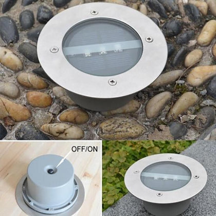 Outdoor Lighting Solar Powered Panel LED Floor Lamps Deck Light 3 LED Underground Light Garden Pathway Spot Lights - Go Buy Dubai