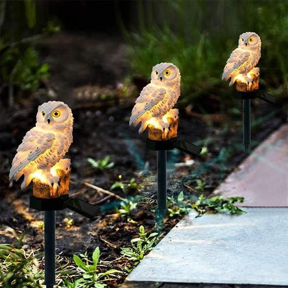 Novelty Solar Garden Lights Owl Solar LED Lawn Lights Outdoor Lawn/Path/Street/Underground Light Ornament LED Decor Sculpture - Go Buy Dubai
