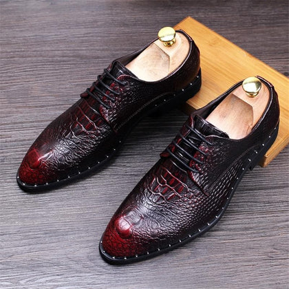 Men's Fashion Genuine Crocodile Leather Pattern Pointed Toe Lace-Up Brogue Formal Shoes - Go Buy Dubai