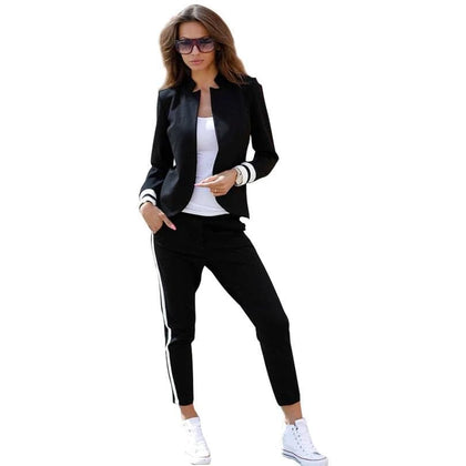 TAOVK women 2 two Piece Set suits Long sleeve stand-up collar buttonless Black and white tracksuit - Go Buy Dubai