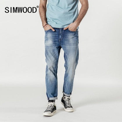 SIMWOOD New 2019 Jeans Men Fashion Denim Ankle-Length Modis Pants Slim Plus Size Trousers Brand Clothing Streetwear Jeans 190028 - Go Buy Dubai