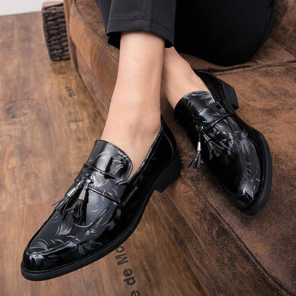 men dress shoes Luxury Italian Style Pointed Toe Formal Wedding party Casual Lace-Up - Go Buy Dubai