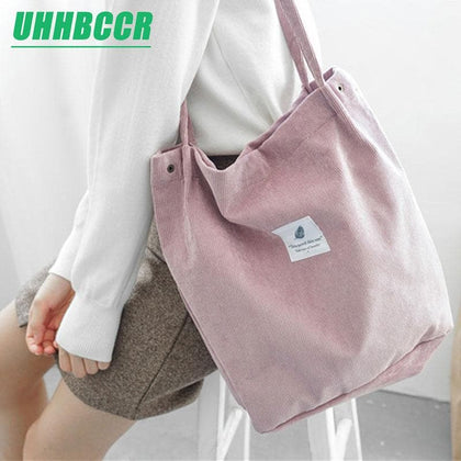 UHHBCCR Solid Corduroy Shoulder Bags Environmental Shopping Bag Tote Package Crossbody Bags Purses Casual Handbag For Women - Go Buy Dubai